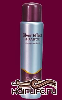 Эффект серебра Шампунь для седых и серебристых волос, обогащённый мёдом и оливковым маслом 250 мл  Уникальный шампунь, предназначенный специально для седых волос, а также для волос, имеющих желтоватый или серебристый оттенок. Приглушает белые и жёлтые тона, придает волосам мягкость, блеск и жизненные силы. Обогащён оливковым маслом, мёдом и аминокислотами, способствующими нейтрализации жёлтых и белых оттенков волос.