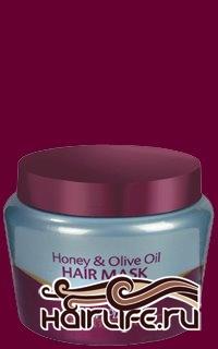 Маска на основе оливкового масла и меда 500 мл  Уникальная маска, разработанная на основе прогрессивных технологий для ухода за сухими, крашеными, кудрявыми или же секущимися волосами. Маска содержит современные уникальные вещества с добавлением маточного молочка, меда, прополиса и оливкового масла. Покрывает волосы уникальным защитным слоем, придает им удивительный блеск, наделяет волосы, прошедшие химическую обработку, влагой. Содержит провитамины В-5 и Е. Уход – быстро и безопасно регенерирует волосы после химической обработки, укрепляет и оздоравливает волосы. Обогащает их аминной кислотой, а также жирными кислотами, способствующими излечению и дезинфекции кожи головы и волос. Вид – придает волосам блеск и здоровый, свежий вид. Ощущение – волосы становятся мягкими, легкими для расчесывания, а также благоухающими экзотическим, свежим ароматом. Защита – максимальная добавка ультрафиолетовых фильтров для защиты волос. Применение – в начале – два раза в неделю (на протяжении двух месяцев), затем – по мере необходимости.